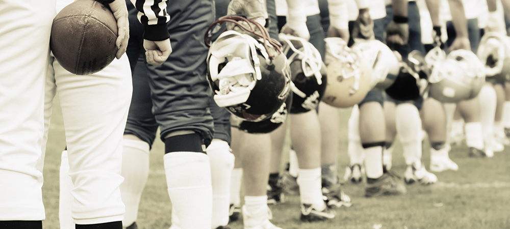 Football players lined up